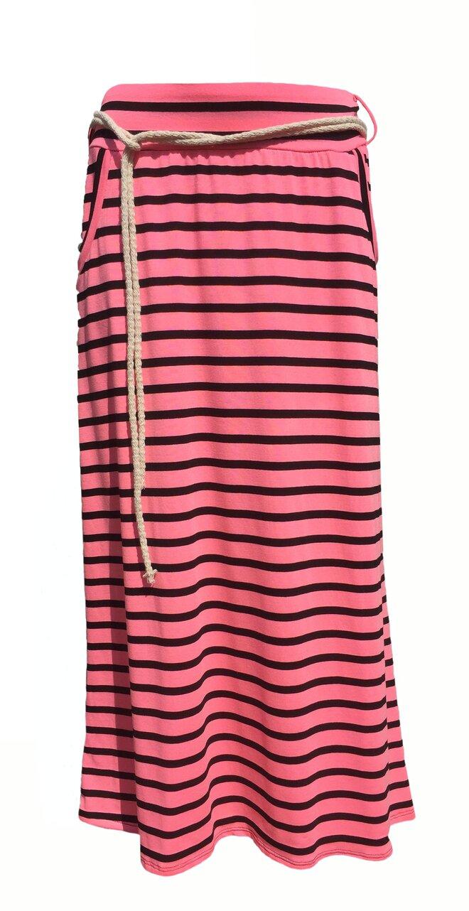 8c1a51378409 Dlouhé dámské pruhované sukně v 9 barvách