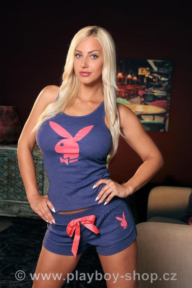 ec08cb881d9 Černo-růžové pyžamo Playboy s krajkovými lemy - Krásné pyžamo Playboy pro  sladký spánek. Tílko je černé vpředu s rozepínací knoflíkovou lištou a  velkým ...