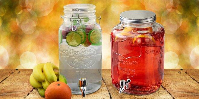 Skleněné nádoby s kohoutkem, objem 4 litry