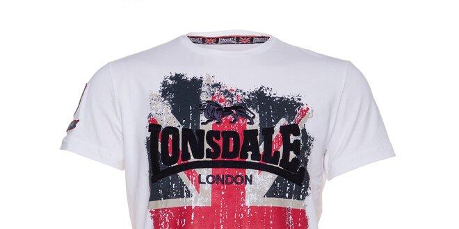 a5dc4cf5d449 Pánské bílé tričko Lonsdale s potiskem britské vlajky