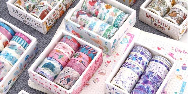 10 dekorativních washi pásek v různých šířkách