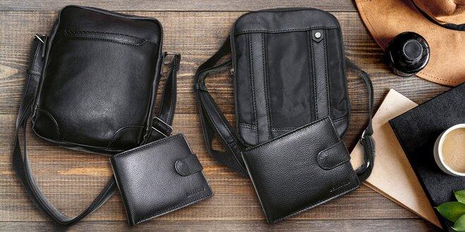 Kožená peněženka a crossbody taška v černé barvě