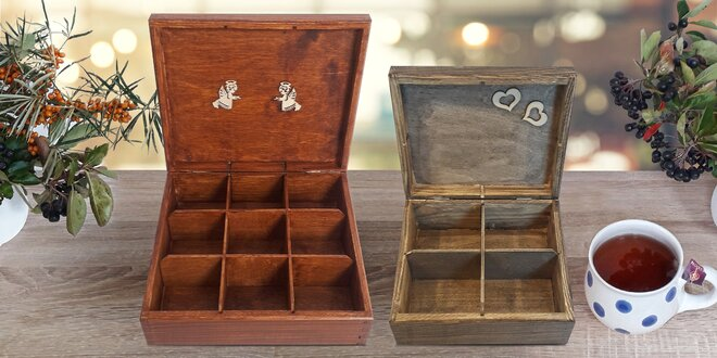 Na čaj: dřevěný box s vyrytým vlastním textem