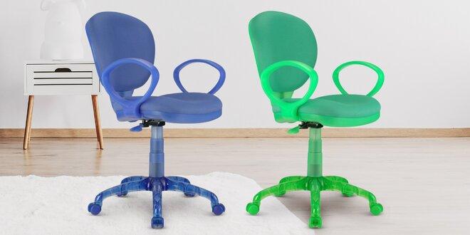 Dětská otočná židle v modré nebo zelené barvě