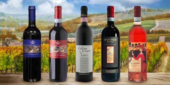 Vína z Itálie: červené, růžové i balíček 5 láhví