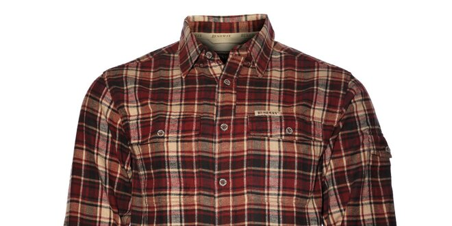 090c60d0b84 Pánská vínová kostkovaná flanelová košile Bushman