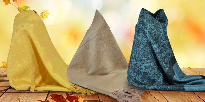 Kašmírové šály s hedvábnou příměsí v 9 barvách