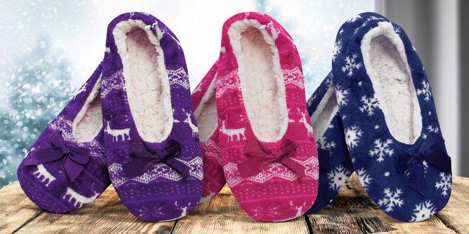 Dámské teplé papuče s vánočními motivy