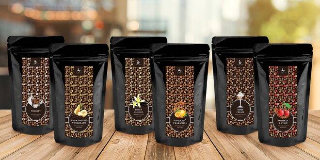 100% arabika: balíček 6 ochucených zrnkových káv