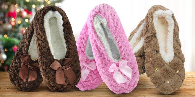 Dámské teplé papuče z ovčí vlny: mašle i třpytky