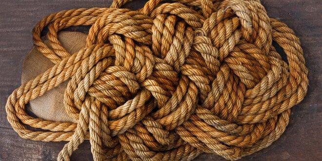Třípramenné přírodní jutové lano v 6 tloušťkách