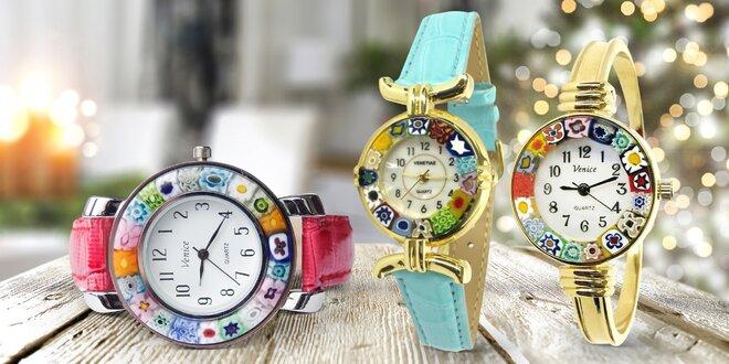Ručně vyráběné dámské hodinky z muránského skla