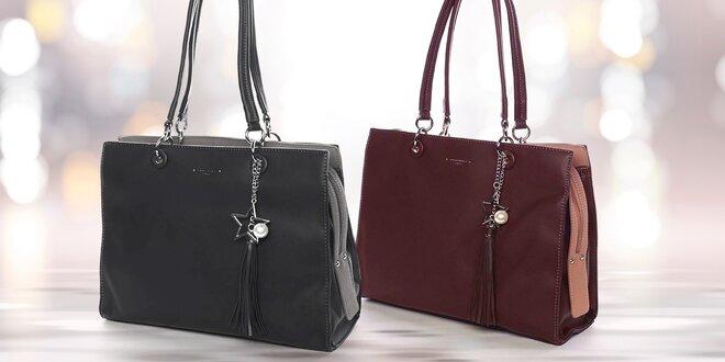 Prostorné dámské kabelky s přívěskem, více barev