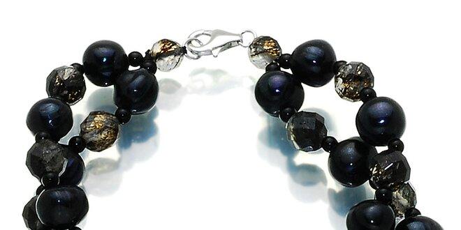 Dámský tmavý náramek s černými perlami a polodrahokamy Orchira