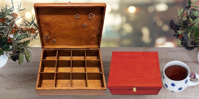 Dřevěný box na čaj, šperky i jiné drobnosti, 6 barev
