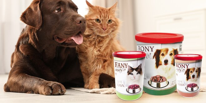 100% masové konzervy české výroby pro kočky a psy
