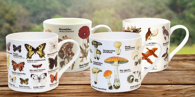 Porcelánové hrnky s motivy zvěře i květin
