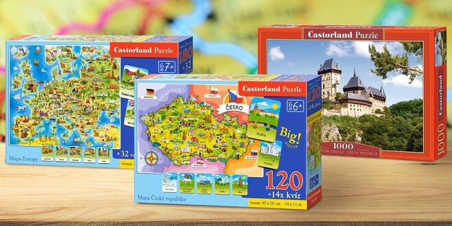 Puzzle pro velké i malé: Karlštejn, mapa ČR a Evopy