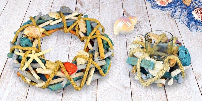 Letní dekorace v mořskými motivy: svícen i mušle