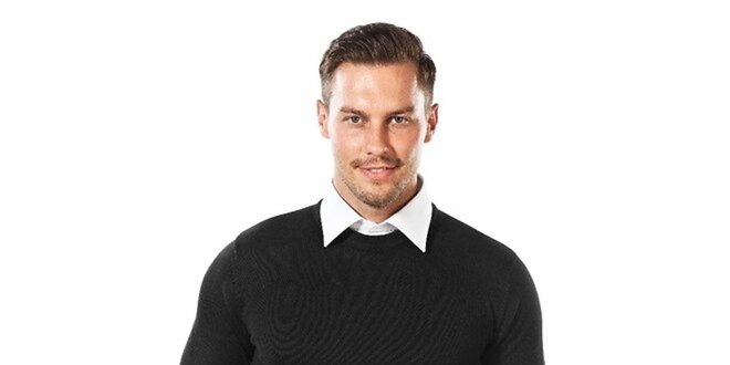 Pánský černý svetr s kulatým výstřihem Vincenzo Boretti