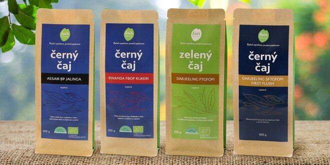 Sypané zelené a černé fair trade čaje