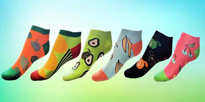 Kotníkové dámské ponožky s barevnými vzory