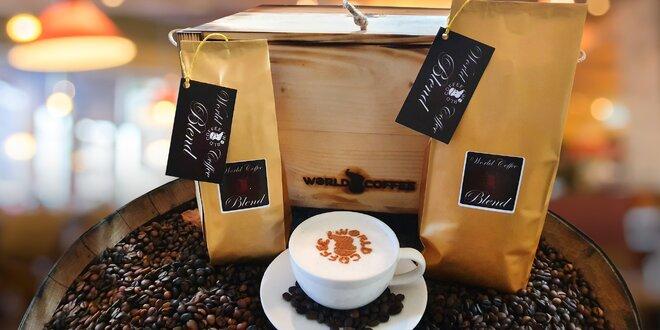 250 g zrnkové i mleté kávy z celého světa