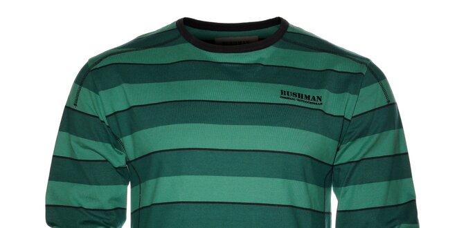 Pánské tmavě zelené proužkované tričko Bushman s dlouhým rukávem ... c926b59848