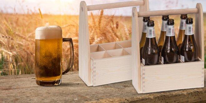 Dřevěný nosič na pivo: vejde se 6 lahváčů