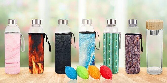 Skleněná láhev na vodu: neoprenový obal i sítko na čaj