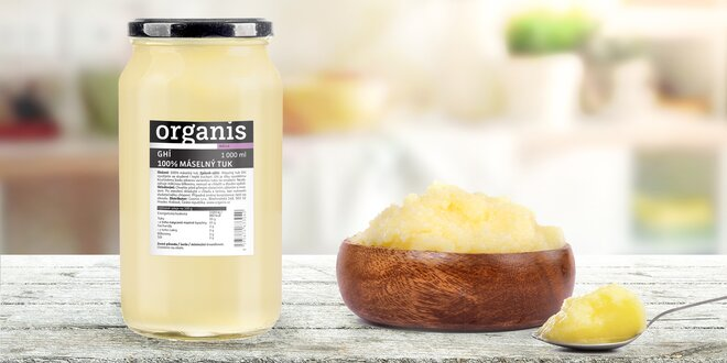 1000 ml přepuštěného másla ghí: 100% máselný tuk