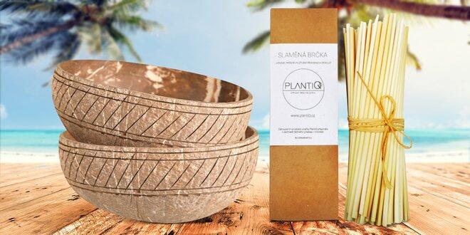100% přírodní kokosové misky a slaměná brčka