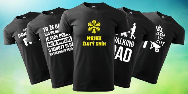 Pánská černá trička s vtipnými potisky
