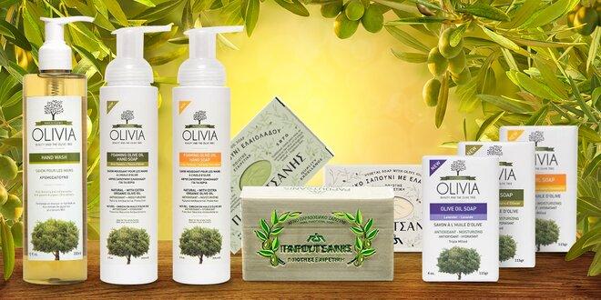 Řecká olivová péče: tuhá, pěnová i tekutá mýdla