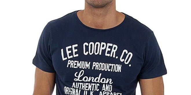 Pánské modré tričko s bílým potiskem Lee Cooper  b973b5a270b