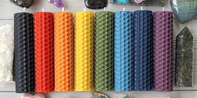 Bylinné svíčky ze včelího vosku, 8 barev