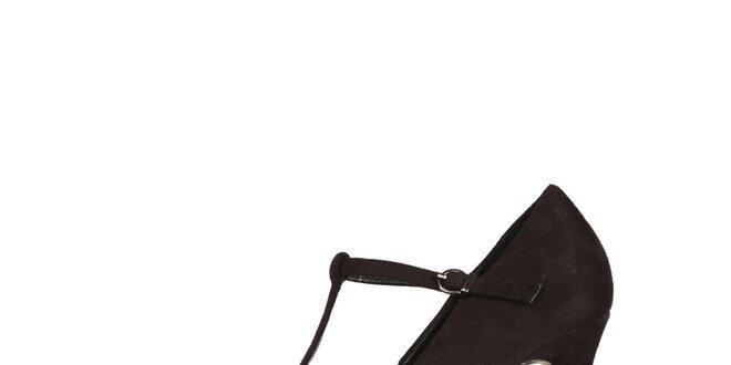 4aaa8993758 Dámské černé lodičky na podpatku Ana Lublin s páskem přes nárt ...