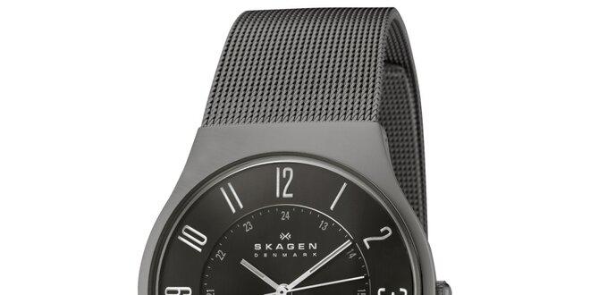 125b758dbb Pánské černé ocelové hodinky Skagen