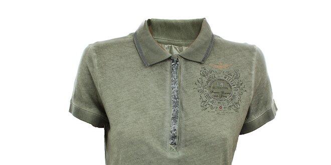 Dámské olivové polo tričko s flitry Aeronautica Militare