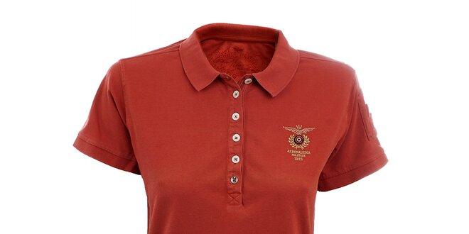 Dámské červené polo tričko Aeronautica Militare