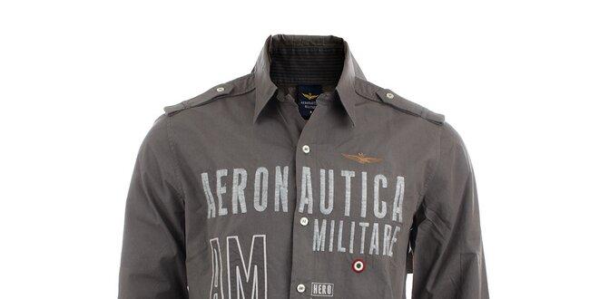 Pánská šedá košile s leteckými nášivkami Aeronautica Militare