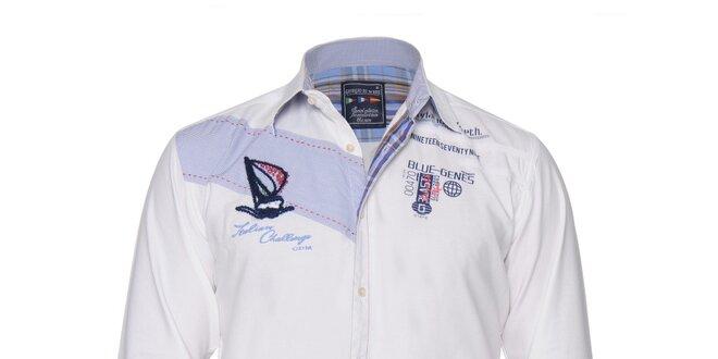 Pánská bílá košile s nášivkou na hrudi Giorgio di Mare  01ebfd4f64