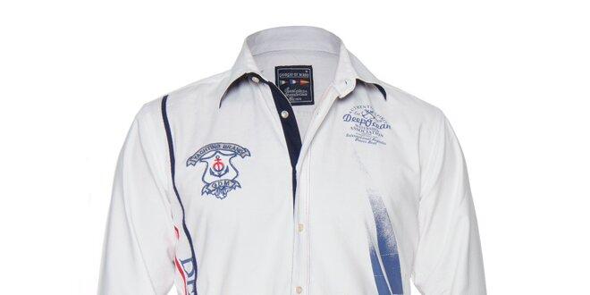 Pánská bílá košile s nášivkami na hrudi a potiskem Giorgio di Mare ... 063b0627dc