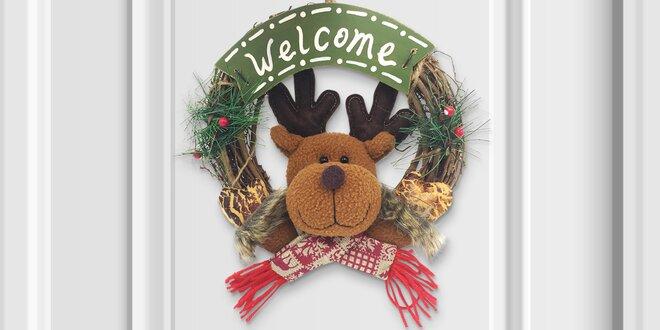 Vánoční věnce na dveře: sněhulák, Santa i sob