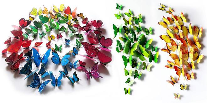Sady 12 magnetických a nalepovacích 3D motýlků