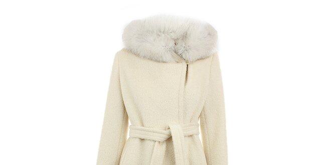 c76f498e353 Dámský krémový vlněný kabát s kožešinou Max Mara