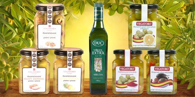 Plněné karamelizované olivy i olivový olej