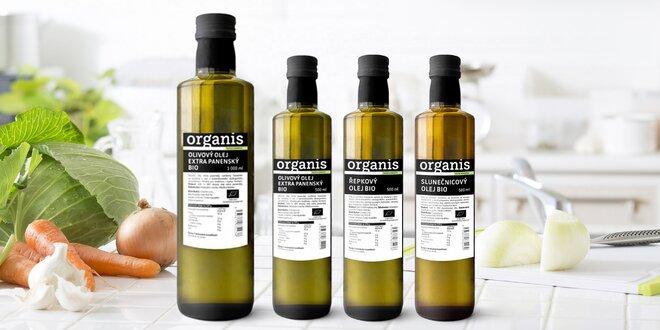 100% bio olivové, slunečnicové a řepkové oleje