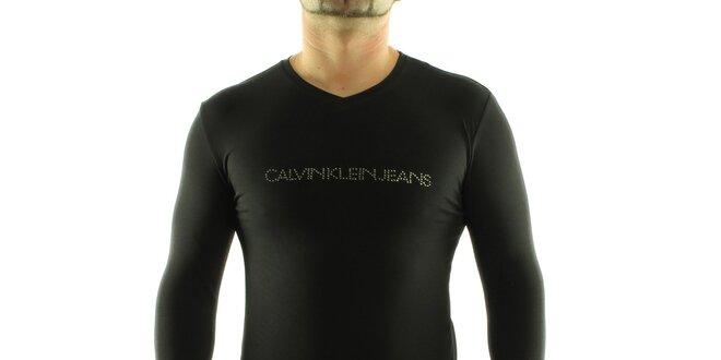 Pánské černé tričko Calvin Klein s kamínky  ed0833726b