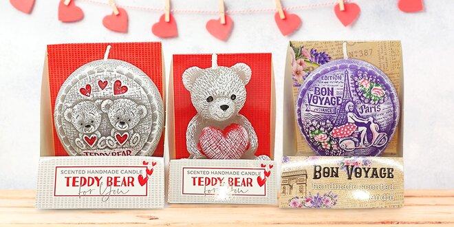 Levandulová svíčka či dvě s motivem medvídka